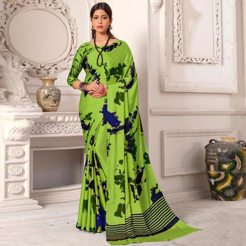 Sophisticated Green Colored Designer Partywear Printed Satin Silk Saree