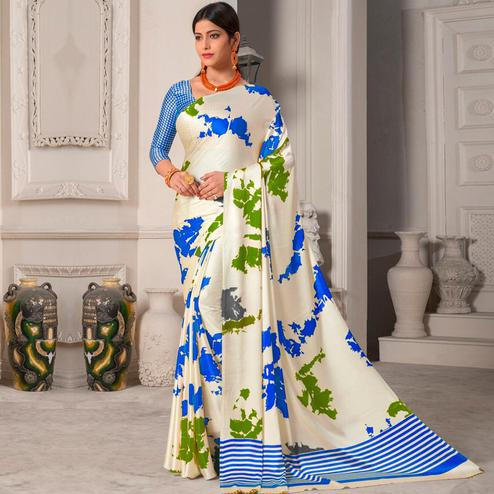Elegant Offwhite - Blue Colored Designer Partywear Printed Satin Silk Saree