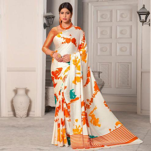 Radiant Offwhite - Orange Colored Designer Partywear Printed Satin Silk Saree