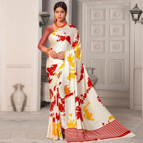 Pleasant Offwhite - Red Colored Designer Partywear Printed Satin Silk Saree