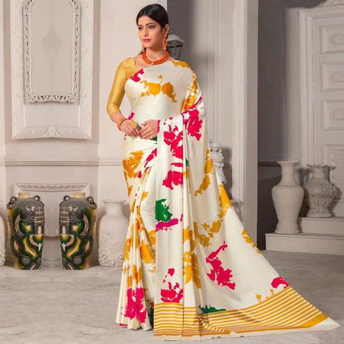 Opulent Offwhite - Yellow Colored Designer Partywear Printed Satin Silk Saree
