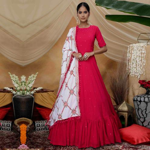 Alluring Rani Pink Colored Partywear Embroidered Georgette Anarkali Suit