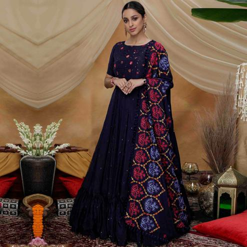 Sensational Navy Blue Colored Partywear Embroidered Silk Anarkali Suit