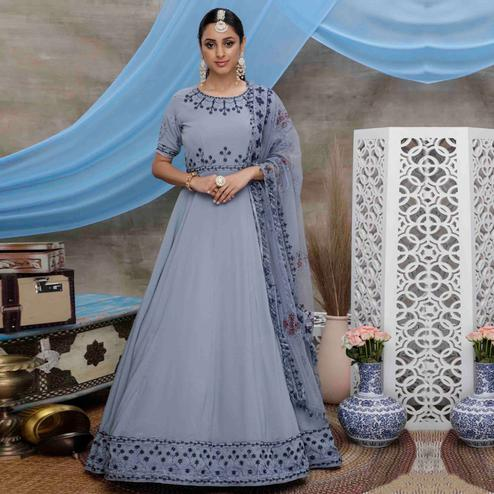 Flaunt Grey Colored Partywear Embroidered Georgette Anarkali Suit