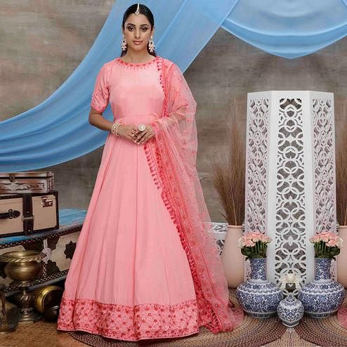 Stunning Pink Colored Partywear Embroidered Silk Anarkali Suit