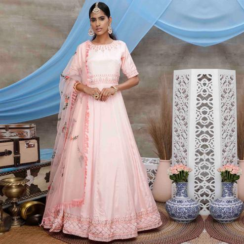 Flirty Peach Colored Partywear Embroidered Georgette Anarkali Suit