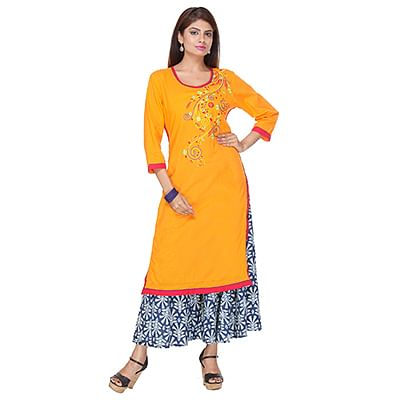 Orange Floral Printed Stitched Kurti