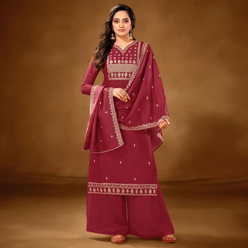 Magnetic Maroon Colored Partywear Embroidered Pure Cotton Palazzo Suit