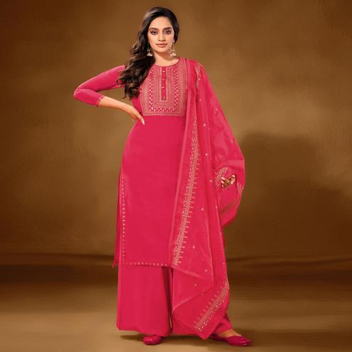 Flattering Pink Colored Partywear Embroidered Pure Cotton Palazzo Suit