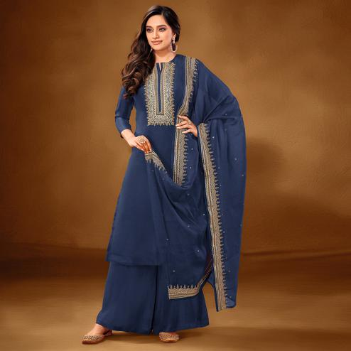 Excellent Blue Colored Partywear Embroidered Pure Cotton Palazzo Suit