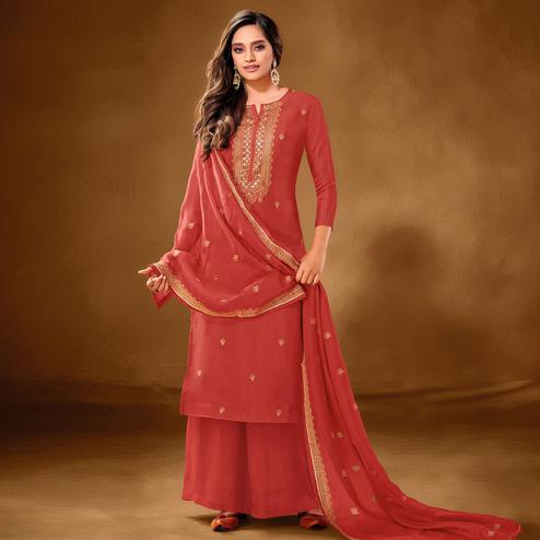 Preferable Dark Peach Colored Partywear Embroidered Pure Cotton Palazzo Suit