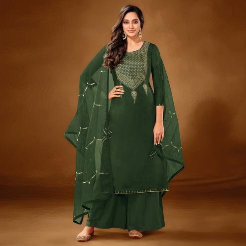 Marvellous Dark Green Colored Partywear Embroidered Pure Cotton Palazzo Suit