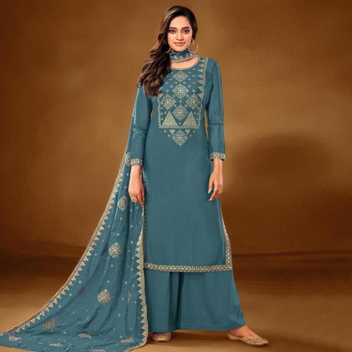 Flamboyant Sky Blue Colored Partywear Embroidered Pure Cotton Palazzo Suit