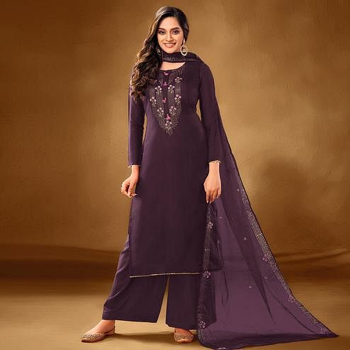 Pretty Dark Purple Colored Partywear Embroidered Pure Cotton Palazzo Suit