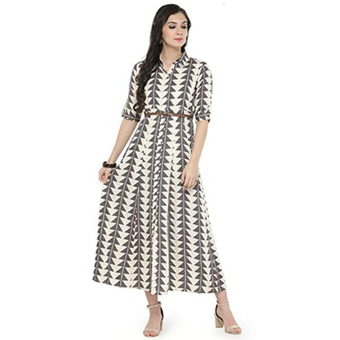 Off-White-Gray Colored Printed Cotton Kurti