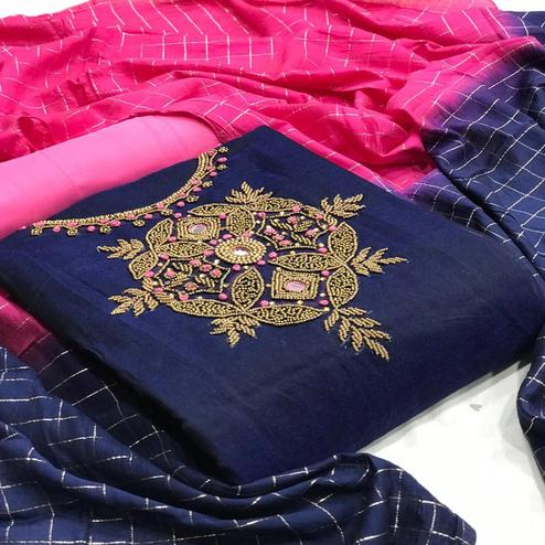 Glorious  Navy Blue Colored Partywear Embroidered Chanderi Silk Dress Material