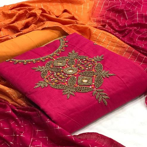 Attractive Rani Pink Colored Partywear Embroidered Chanderi Silk Dress Material
