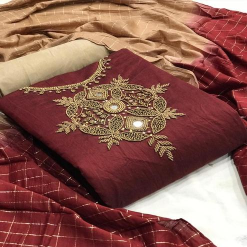 Beautiful Maroon Colored Partywear Embroidered Chanderi Silk Dress Material