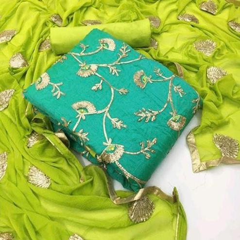 Blooming Turquoise Green Colored Festive Wear Heavy Gotta Work Modal Dress Material