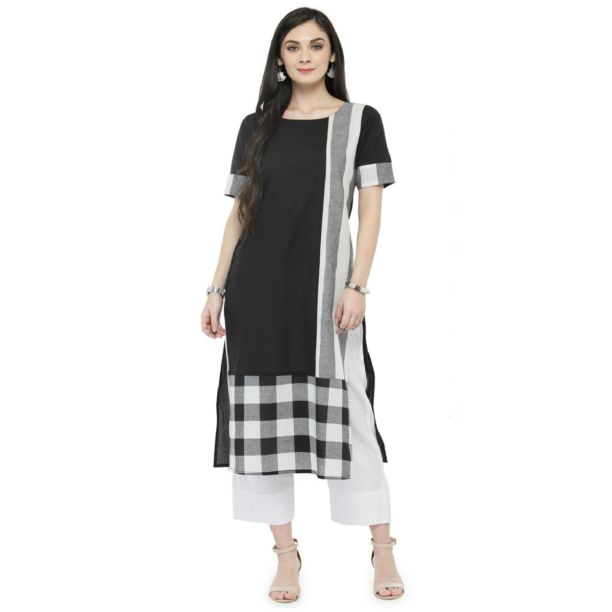 Black Colored Printed Pure Cotton Kurti