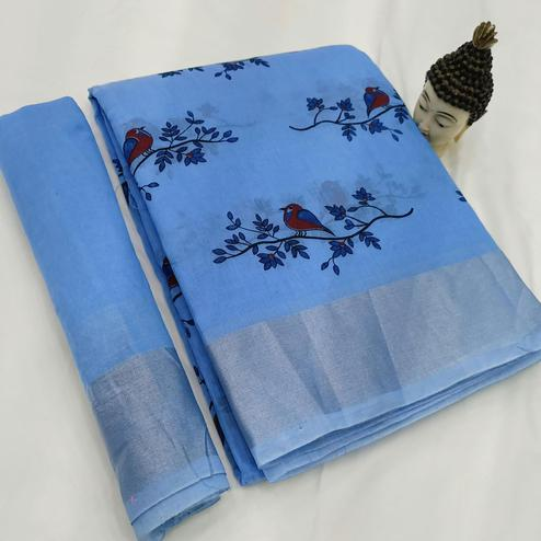 Exotic Blue Colored Casual Wear Block Printed Cotton Linen Saree