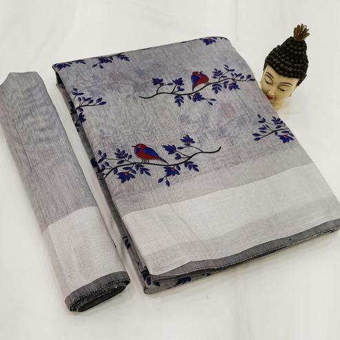 Trendy Grey Colored Casual Wear Block Printed Cotton Linen Saree
