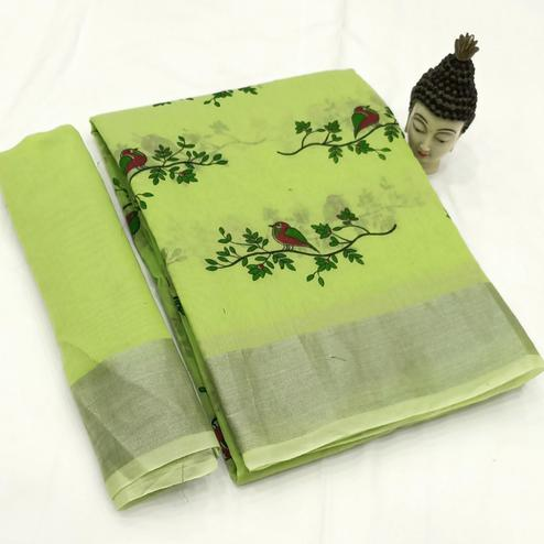 Elegant Lemon Green Colored Casual Wear Block Printed Cotton Linen Saree