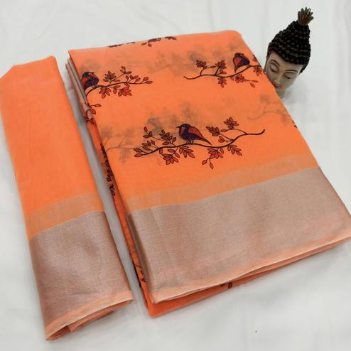 Radiant Orange Colored Casual Wear Block Printed Cotton Linen Saree