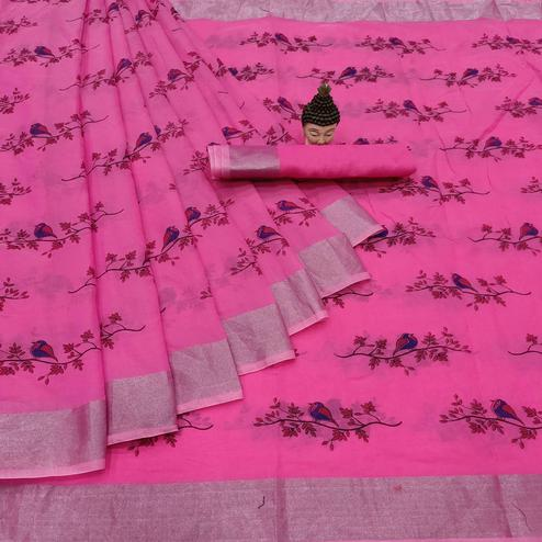 Pleasant Rani Pink Colored Casual Wear Block Printed Cotton Linen Saree