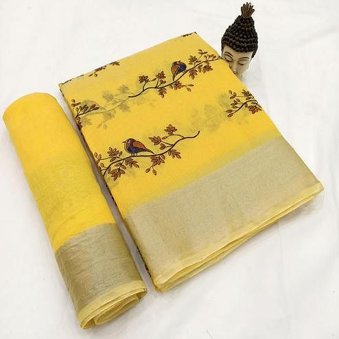 Energetic Yellow Colored Casual Wear Block Printed Cotton Linen Saree