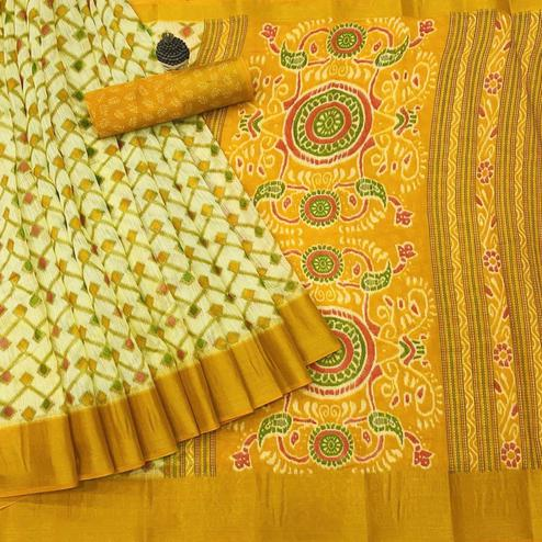 Glowing Offwhite - Yellow Colored Festive Wear Batik Printed Cotton Saree