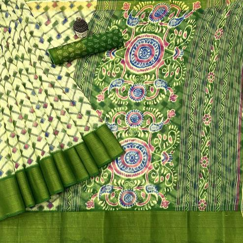 Exceptional Offwhite - Green Colored Festive Wear Batik Printed Cotton Saree