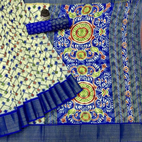 Gleaming Offwhite - Blue Colored Festive Wear Batik Printed Cotton Saree