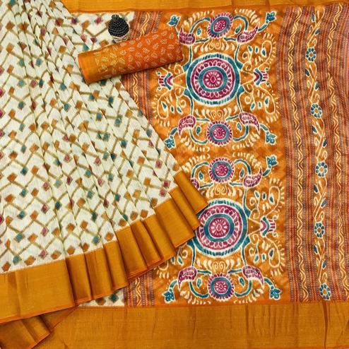 Mesmeric Offwhite - Orange Colored Festive Wear Batik Printed Cotton Saree