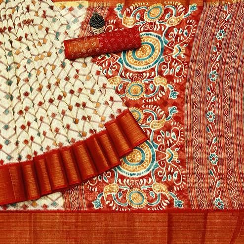 Refreshing Offwhite - Red Colored Festive Wear Batik Printed Cotton Saree