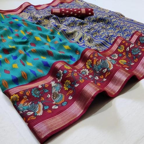 Flamboyant Blue Colored Casual Wear Printed Cotton Saree