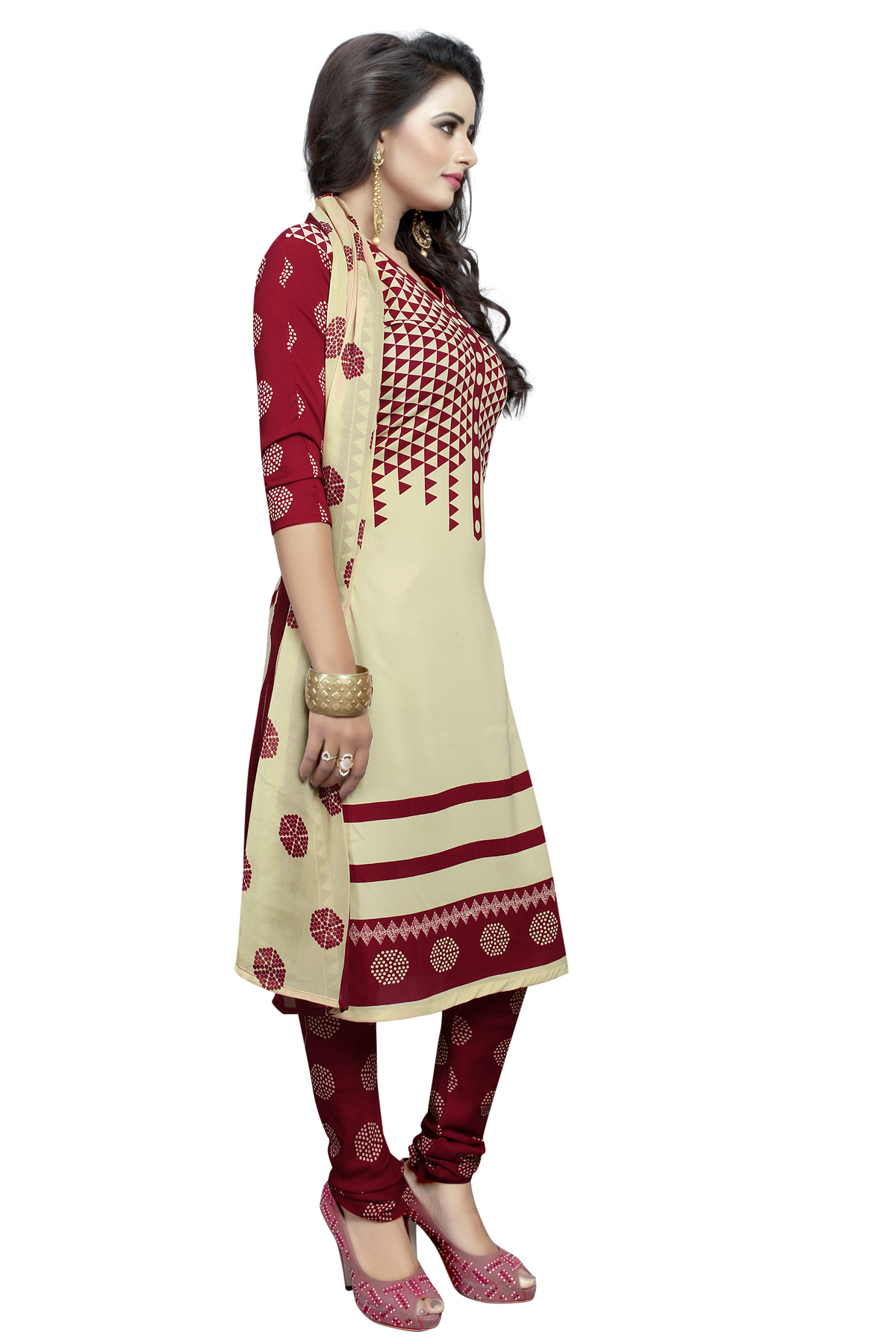 Cream - Maroon Leaon Printed Suit