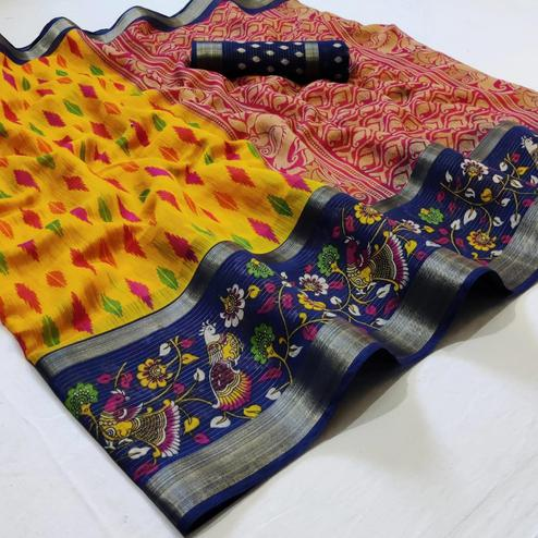 Alluring Yellow Colored Casual Wear Printed Cotton Saree