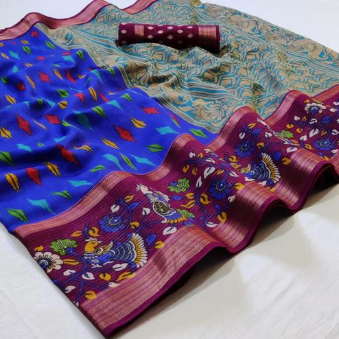 Flaunt Royal Blue Colored Casual Wear Printed Cotton Saree