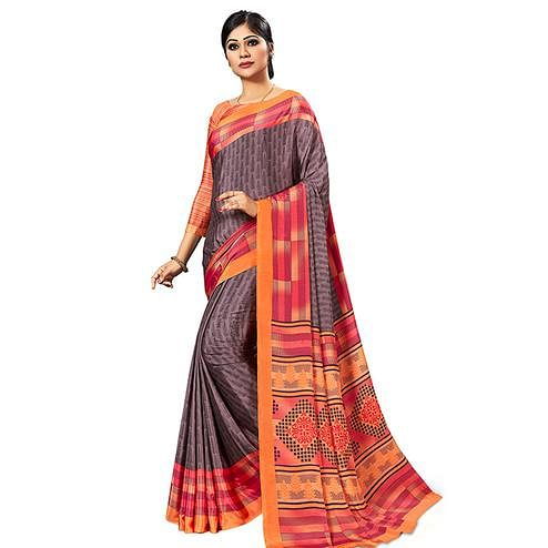 Prominent Brown Colored Casual Wear Printed Crepe Saree