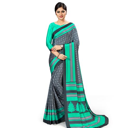 Appealing Grey Colored Casual Wear Printed Crepe Saree