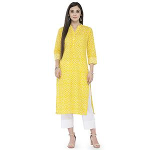 Yellow Colored Printed Cotton Kurti