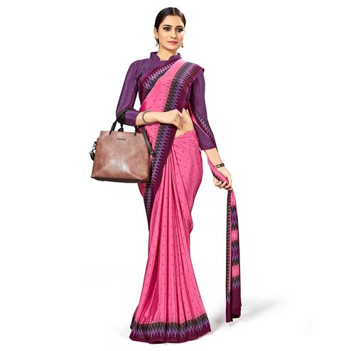 Beautiful Pink Colored Casual Wear Printed Crepe Saree