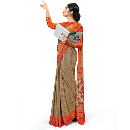 Graceful Light Brown Colored Casual Wear Printed Crepe Saree