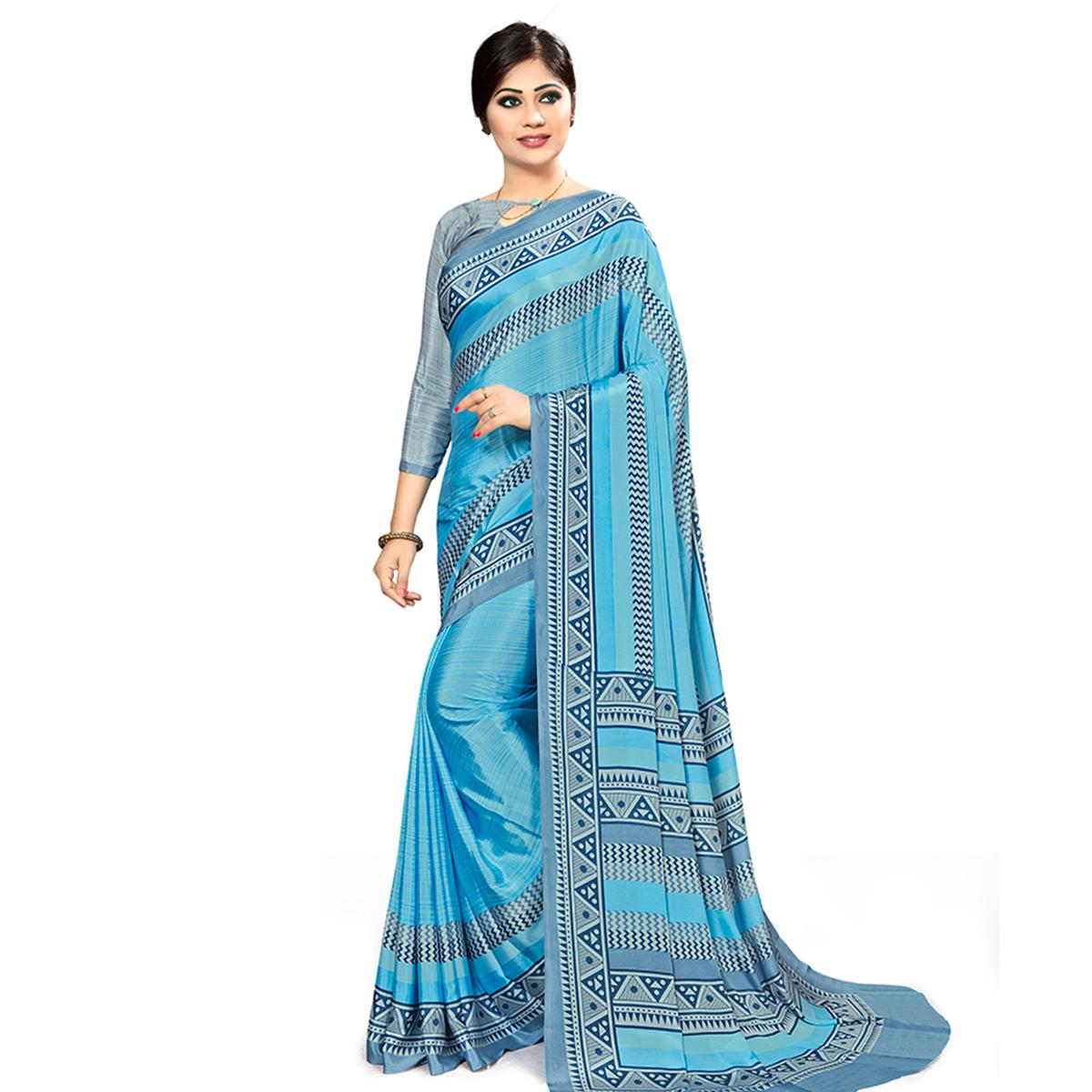 Blooming Sky Blue Colored Casual Wear Printed Crepe Saree