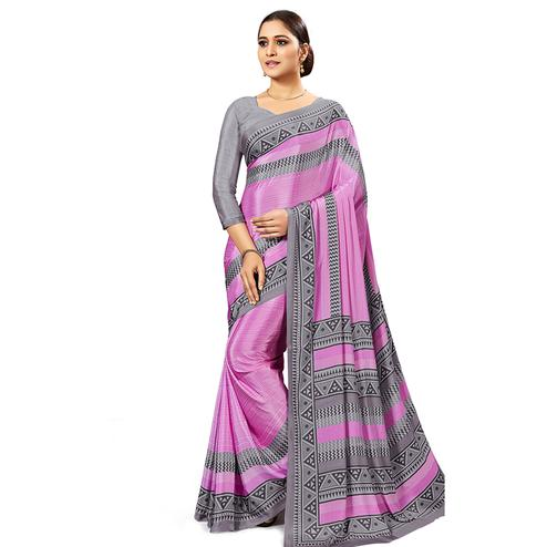Charming Pink Colored Casual Wear Printed Crepe Saree