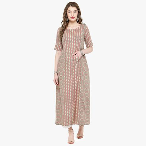 Beige Colored Printed Cotton Kurti