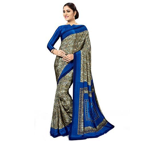 Jazzy Dark Beige Colored Casual Wear Printed Crepe Saree
