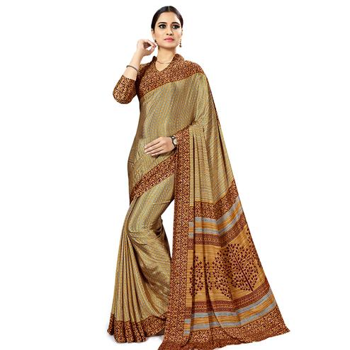 Engrossing Beige Colored Casual Wear Printed Crepe Saree