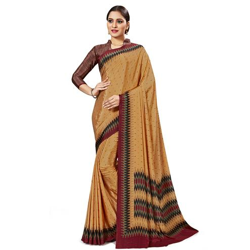 Captivating Light Orange Colored Casual Wear Printed Crepe Saree
